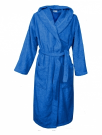 Badstof badjas met capuchon A&R 100% katoen true blue  XXS t/m XXXL