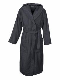 Badstof badjas met capuchon A&R 100% katoen zwart XXS t/m XXXL