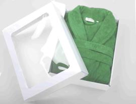 Badstof badjas A&R met sjaalkraag  Irish Green 100% katoen XXS t/m XXXL