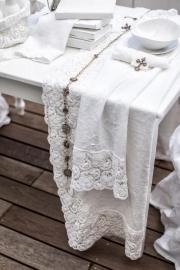 Arte Pura - design tafelkleed met PU kantrand, 100% linnen in meerdere kleuren en verschillende maten leverbaar