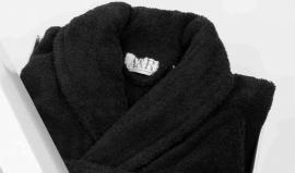 Badstof badjas A&R met sjaalkraag 100% katoen zwart XXS t/m XXXL