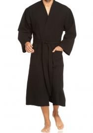 Wafelbadjas Vossen Wellington kimono model kleur zwart extra lang