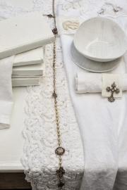 Tafelloper Arte Pura Alloro 100% linnen met PU kant kleur bianco (wit) 40x90 cm
