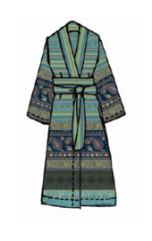 Kimono Bassetti Cervino V2 turquoise katoenen satijn S/M en L/XL