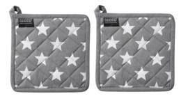 Pannenlappen Etoile 20x20 cm grey set van 2 stuks DDDDD