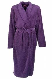 Dames fleece badjas Medaillon julia met gestanste bladeren paars M t/m XXL