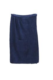 A&R dames saunakilt badstof verstelbaar met klitteband kleur navy