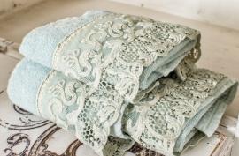 Arte Pura Chitarra handdoeken 60x100 cm met PT kant set van 2 stuks leverbaar in meerdere kleuren