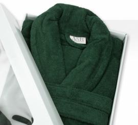 Badstof badjas A&R met sjaalkraag 100% katoen dark green XXS t/m XXXL