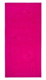 Strandlaken seafood  XL katoen velours kleur hot pink 100x200 cm