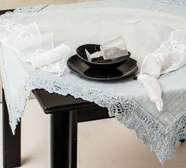 Tafelkleed Arte Pura met PV kant in diverse kleuren en maten leverbaar