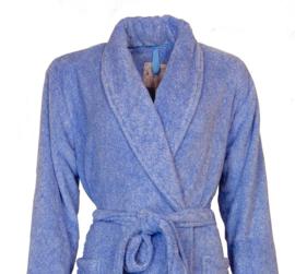 Dames coral fleece badjas Tenderness met sjaalkraag marina  blue S t/m XXL