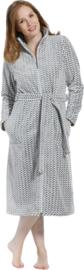 Pastunette badjas met rits grijs/wit