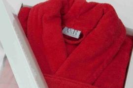 Badstof badjas A&R met sjaalkraag 100% katoen rood XXS t/m XXXL