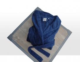Badjas huismerk met capuchon katoen velours kleur marine maat 6 t/m 14 jaar