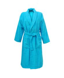 Badstof badjas A&R met sjaalkraag 100% katoen aqua XXS t/m XXXL