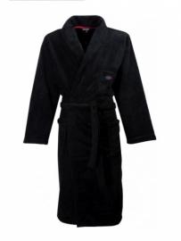 Heren fleece ochtendjas Paul Hopkins met sjaalkraag zwart Maat XXL