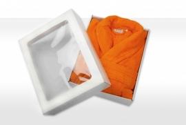 Badstof badjas A&R met sjaalkraag 100% katoen oranje XXS t/m XXXL