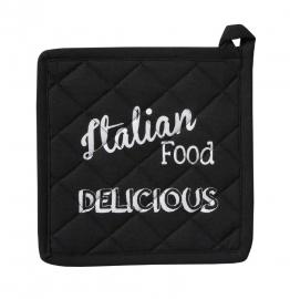 Pannenlappen Italian Food 20 x 20 cm zwart  set van 2 stuks DDDDD