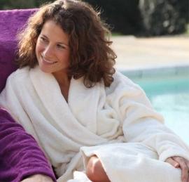 Badstof badjas A&R met sjaalkraag wit 100% katoen XXS t/m XXXL