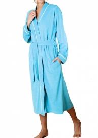 Dames badjas Hajo blauw soepel vallende stof maat 36/38