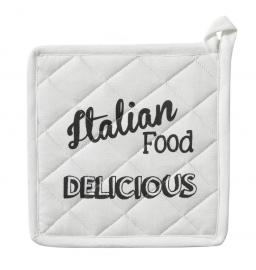 Pannenlappen Italian Food 20 x 20 cm wit  set van 2 stuks DDDDD