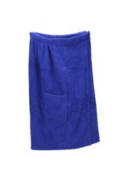 A&R dames saunakilt badstof verstelbaar met klitteband kleur true blue