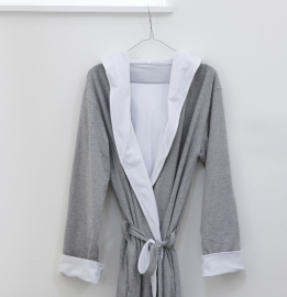 House in Style  badjas met capuchon jersey grijs/wit maat S/M en  L/XL