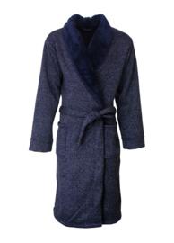 Luxe Heren badjas Paul hopkins ribfleece kleur blue melange S t/m XXL