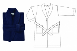 Seahorse Pure badjas, katoenen velours, kleur indigo, maat S t/m XXL