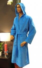 Elias badjas velours met capuchon blauw XS t/m XL