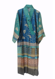 Kimono Bassetti Bernina turquoise V2 katoenen satijn maat S/M en L/XL