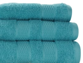 Elias handdoek Fresh 50x100 cm set 2 stuks kleur turquoise