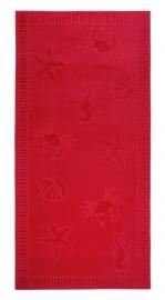 Strandlaken seafood  XL katoen velours kleur rood 100x200 cm