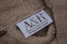 Badstof badjas A&R met sjaalkraag 100% katoen sand XXS t/m XXXL