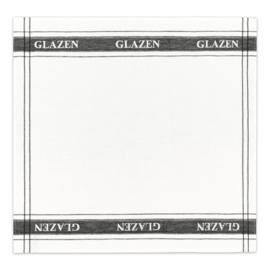 DDDDD Glazendoek - Theedoek half linnen wit met zwart
