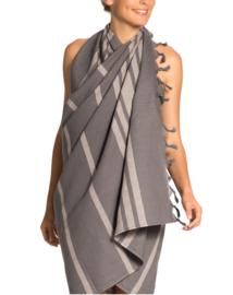 Vossen luxe hamamdoek  Aura 100x180 cm kleur twilight taupe/grijs