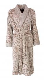 Dames badjas Medaillon tijger sand superzachte coral fleece S t/m XXL