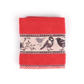 Keukendoek (handdoek) Bunzlau Castle rood vogel