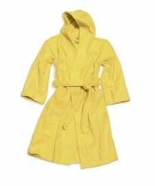 Kinderbadjas Lasa met capuchon badstof kleur geel maat 128-140-164