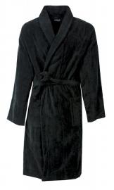 Heren badjas Paul Hopkins velours met sjaalkraag zwart S t/m XXL
