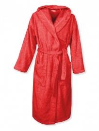Badstof badjas met capuchon A&R 100% katoen rood XXS t/m XXXL