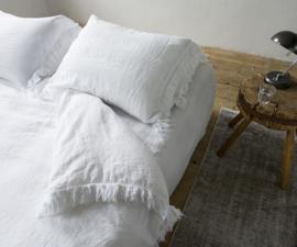 Dekbedovertrek Passion for linen Loulou bovenkant 100% linnen onderkant katoen satijn kleur wit of sand