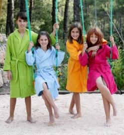 Kinderbadjas Lasa met capuchon badstof kleur lime maat 128-140-164
