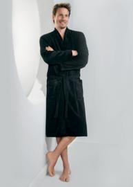 Taubert kimono badjas bamboo soft velours met badstof binnenzijde kleur zwart maat 48 t/m 56