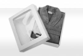Badstof badjas A&R met sjaalkraag 100% katoen antracietgrijs XXS t/m XXXL