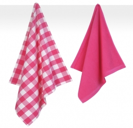 Keukendoek en theedoek Jorzolino Uni square ruit pink