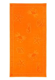Strandlaken seafood  XL katoen velours kleur oranje 100x200 cm