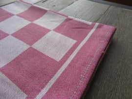 Glazendoeken Holland linnen rode ruit