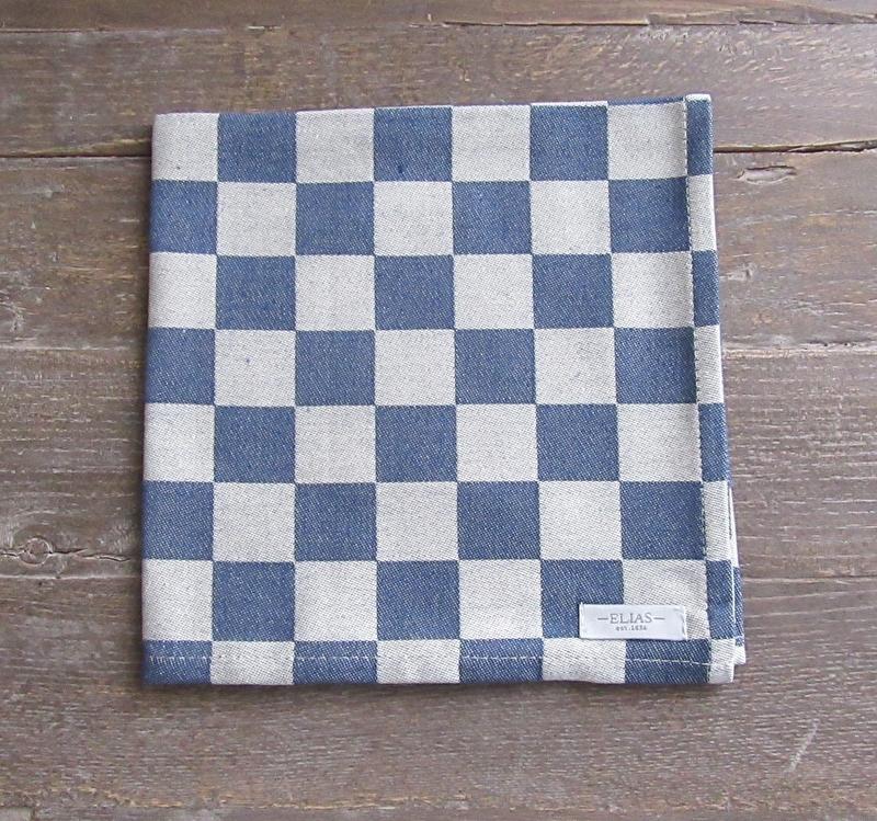 Servetten Elias pompdoek 45x45 cm blauwe ruit